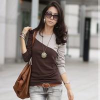 free shipping 2013 hot-selling chromophous women's patchwork color block women's basic shirt long-sleeve T-shirt