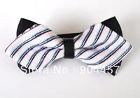 Mens Pre-Tied Adjustable Bow Ties Black With White Navy Stripe Double Sided Diamond Tip Bowties Free Shipping 50 pcs