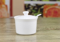 MIN ORDER $39 New style pure white bone china sauce pot belt spoon high quality bone china kitchenware sauce pot oil