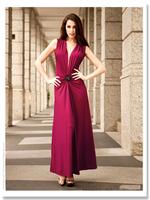 Women's crystals ball slim V-neck milk, silk full dress q12358
