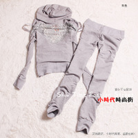 100% cotton sports   lace cutout  slim   spring new arrival Sports Hoodie Suit Casual Ladies hoodies sweatshirts set