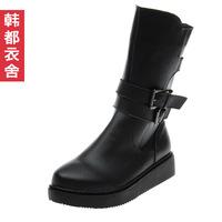 HSTYLE 2013 female cow split leather side zipper female medium-leg boots st2410 1020