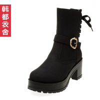HSTYLE women's shoes 2013 all-match thick heel platform knee-high boots sh2603 1019
