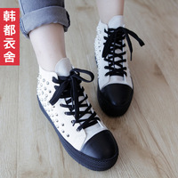 HSTYLE spring 2013 spring canvas rivet decoration round toe lacing shoes st2404 0830