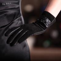 Klss suede gloves women's genuine leather gloves female short design suede genuine leather laciness gloves 883