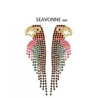 Freeshopping 2013 fashion animal romantic color stone mosaic birds Earring Crystal Earrings dropshipping E3245