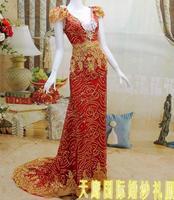 The bride wedding dress formal dress long design formal dress SWAROVSKI rhinestone acrylic diamond ty99594