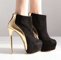 Free shipping High-heeled shoes 14cm platform thin heels shoes,autumn and winter color block decoration fashion boots