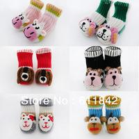 Free shipping 24 pairs/lot Children's socks Wool  Baby socks Non-slip floor socks Handmade Warm