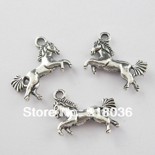15Pcs Antiqued Silver Tone 2-Sided Running Horse Charms Pendants 16x20mm A903(China (Mainland))