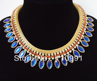 2012 New Arrival Unique Attractive Exquisite Gold Plated Blue Crystal Rhinestone Chunky Choker Bib Statement Necklaces for women