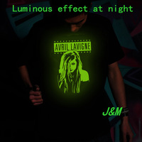 luminous shirt Avril Lavigne girlfriend rock star fasion top-tee for men&girl free shipping
