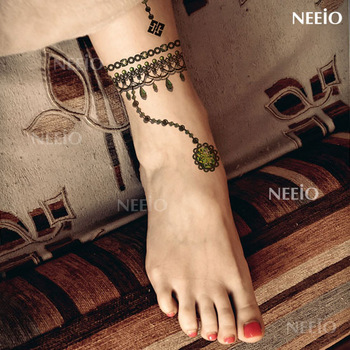 tattoo stickers waterproof emerald nobility jewelry anklets gem Women