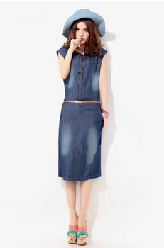 New Fashion Denim Vintage Cute Dress 2014 Summer Autumn High Street Active Women's Casual Party Stylish Women Dresses