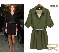 Free shipping Celebrities in Europe and the United States with the waist belt high collar long-sleeved dress S-013