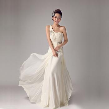 new fashion 2013 Beautiful bridal long design formal  elegant one shoulder purple banquet evening dress