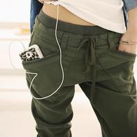 Autumn women's casual trousers black harem pants plus size mid waist lacing cotton cloth pants pencil pants