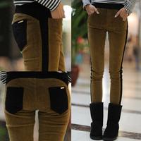 Casual mid waist corduroy skinny pants women's basic boot cut jeans pencil pants long trousers