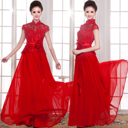 Marry red long design lace chinese style stand collar cheongsam autumn bride brand formal evening dress(China (Mainland))
