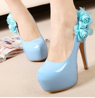 Sexy Nude Blue Women's Wedding Party Shoes Nice Flower High Heeled Platform Pumps FD980-12