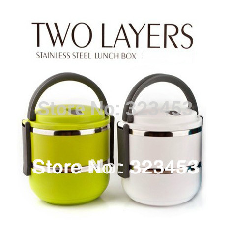 Double Layer Stainless Steel Children Vacuum Lunch Box 1.4L Keep Warm Food Container For Kids(whte,green,blue)YPHI-Z90-7-3-6(China (Mainland))