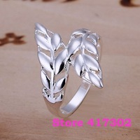 R119 SIZE 8# Feather Ring 925 silver ring Fashion jewelry wedding rings /kiia szra