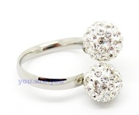 Free Shipping Shamballa Finger Toe Ring Crystal Disco Ball Adjustable Rings ,clear color