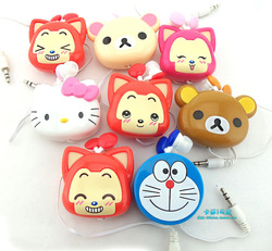 Gift girl accessories Cartoon hyraxes bear kitty pc phone sports retractable style in ear earphones(China (Mainland))