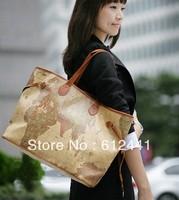 Free Shipping Fashion New Designer PU Leather  Map Printed Woman Shoulder Bag Handbag Tote Bag