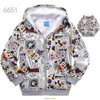 In stocked Best Quality New Arrivals Free Shipping Boys sweatshirt cartoon MICKEY 100% cotton outerwear wholesale and retail