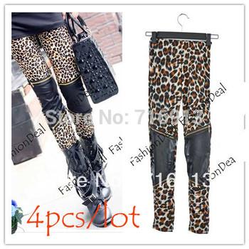 4PCS/LOT Women's Sexy Imitation Leather Patchwork Zipper Leopard Leggings Skinny Pants Free Shipping 10033