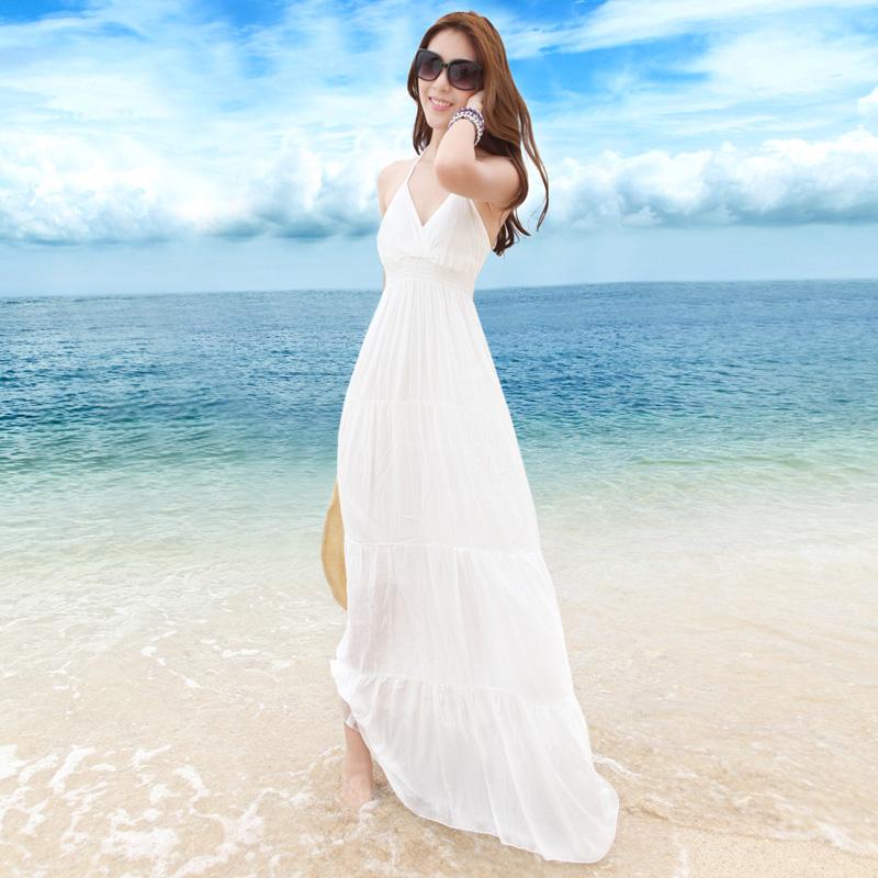 Белое летнее длинное платье