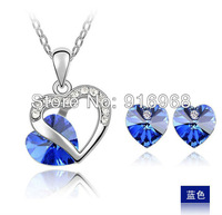 free shipping 10 colors mix heart style austrial crystal necklace fashion jewelry set new hot sale ear studs