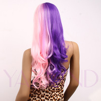 Purple Pink Lolita Style Ramp Bangs Attractive Wavy Curly Long Wig Cap Women