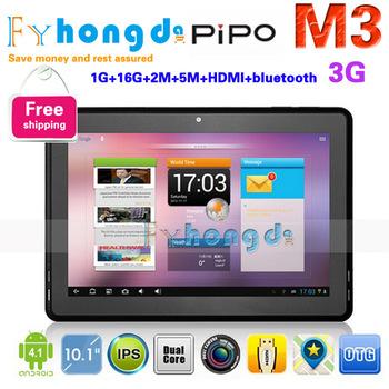"In stock!HK Freeshipping  PIPO M3 10.1"" IPS android 4.1 tablet pc dual camera 1GB RAM WIFI 16GB Dual camera WIFI HDMI Bluetooth"