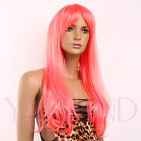 Bright Pink Long  straight Ramp Bangs Full Synthetic Cosplay Women Party Wig Cap New