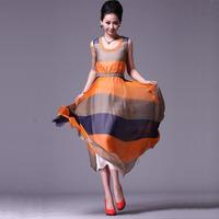 2013 Fashion Women Maxi Dress Striped Chiffon Sleeveless Plaid Dresses Summer dress for Lady Casual Maxi Dress Long Color Block
