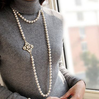 3 Usages Ultra Long Pearls Necklaces  with Brooches for Women YN0054