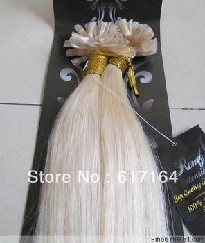 100 Strands Pre Bonded U Nail Tip Fusion Remy Human Hair Extensions For your head 18-28inch # 60 platinum blonde 1g/S 100g