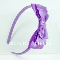 Free Shipping Wholesale 60pcs  Girls Cute Sweet Ribbon Multilayer Bowknot Bow Headband Orchid