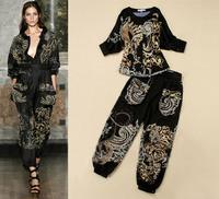 2013 S/S Runway Fashion Women Dragon/phoenix Vintage Print  Batwing Sleeve Shirt /Top + Bloomers Designer Set SS13037