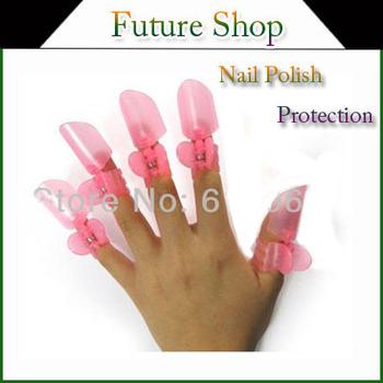 20pcs/2 sets New arrival Manicure Nail Polish Varnish Protection Clip Tip Protectors Covers nail art tool Pink free shipping