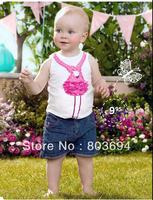2013 Explosion models girls denim two-piece suit three-dimensional burning flower shirt + washing denim