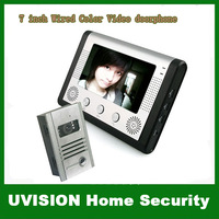 Home security Brand New 7 inch TFT 16:9 Display Wired Color Video Doorphone Systems free shipping