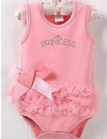 2013 cute&fashion Baby romper Girl's Wear The lovely princess pink bow lace Romper baby clothes