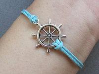 Rudder Bracelet - Pirates Carribbean Bracelet, Antique Silver Rudder Bracelet, Blue Wax Cords Bracelet-C016