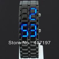 Wonderful LED Blue Lava Iron Sports Bracelet Day Date Men Lady Cuff Wrist Watch +Free Shipping