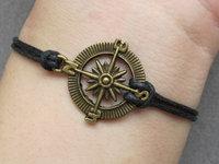 Pirates Cribbean Compass Charm Bracelet-Antique Brass Compass Pendant Bracelet & Black Wax Cords Chain-L187