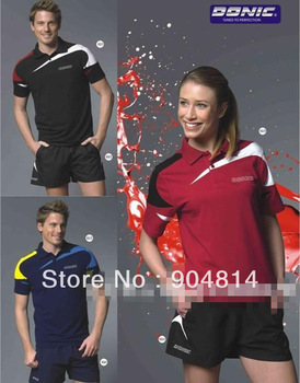 wholesale!free shipping DONIC men's tand women's able tennis shirt b game T-shirt+Shorts 83396+92083