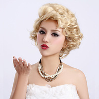 Free shipping Free shipping Gold fashion fluffy girls oblique bangs wig marilyn monroe classic vintage